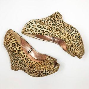 Express Leopard Print Peep Toe Wedge